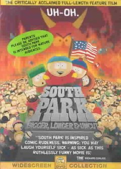 South Park, bigger, longer & uncut /  Paramount ; directed by Trey Parker ; written by Trey Parker, Matt Stone, and Pam Brady ; produced by Trey Parker and Matt Stone ; a Trey Parker film ; a Scott Rudin and Trey Parker/Matt Stone production in association with Comedy Central ; presented by Paramount Pictures and Warner Bros. - Paramount ; directed by Trey Parker ; written by Trey Parker, Matt Stone, and Pam Brady ; produced by Trey Parker and Matt Stone ; a Trey Parker film ; a Scott Rudin and Trey Parker/Matt Stone production in association with Comedy Central ; presented by Paramount Pictures and Warner Bros.