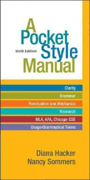 A pocket style manual /  Diana Hacker, Nancy Sommers ; contributing ESL specialist, Marcy Carbajal Van Horn. - Diana Hacker, Nancy Sommers ; contributing ESL specialist, Marcy Carbajal Van Horn.