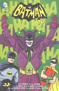 Batman '66.  written by Jeff Parker, Harlan Ellison, Len Wein, Mike W. Barr, Tom Peyer, Rob Williams ; art by Jose Luis Garcia-Lopez, Joe Prado, Michael Avon Oeming, Scott Kowalchuk, [and five others] ; colors by Alex Sinclair, Scott Kowalchuk, Tony Aviña, Jordie Bellaire ; letters by Wes Abbott ; cover art & original series covers by Michael & Laura Allred.