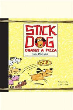 Stick dog chases a pizza.