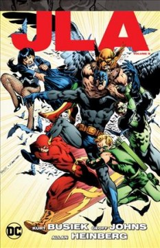 JLA Volume 9 /  Kurt Busiek, Bob Harras, Allan Heinberg, Geoff Johns, writers ; Chris Batista, Tom Derenick, Ron Garney, pencillers ; Mark Farmer, Dan Green, inkers ; David Baron, Sno Cone, colorists ; Jared K. Fletcher, Rob Leigh, Ken Lopez, letterers ; Rags Morales, Mark Farmer & David Baron, collection cover artists. - Kurt Busiek, Bob Harras, Allan Heinberg, Geoff Johns, writers ; Chris Batista, Tom Derenick, Ron Garney, pencillers ; Mark Farmer, Dan Green, inkers ; David Baron, Sno Cone, colorists ; Jared K. Fletcher, Rob Leigh, Ken Lopez, letterers ; Rags Morales, Mark Farmer & David Baron, collection cover artists.