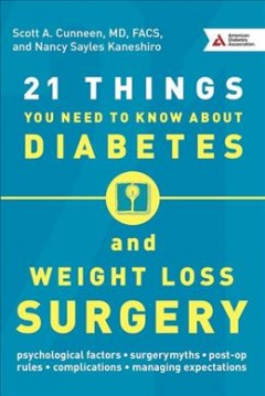 21 things you need to know about diabetes and weight-loss surgery /  Scott A. Cunneen, MD, FACS, FASMBS and Nancy Sayles Kaneshiro. - Scott A. Cunneen, MD, FACS, FASMBS and Nancy Sayles Kaneshiro.